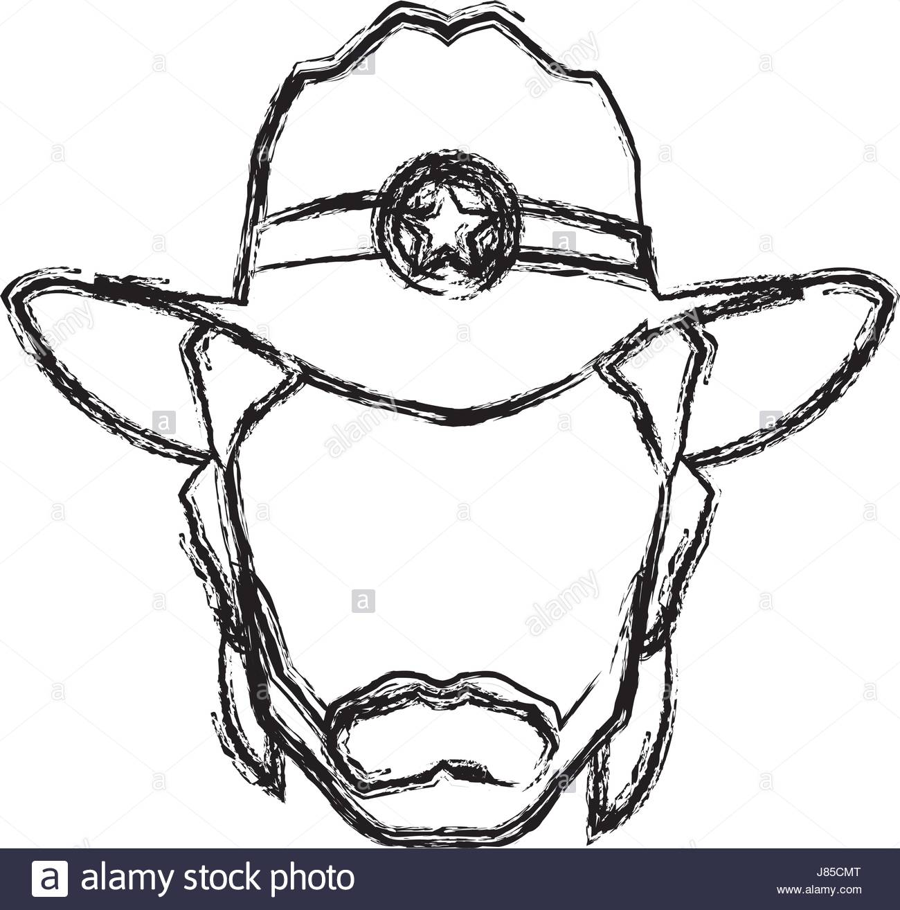 1300x1314 Silhouette Man Cowboy Wear Hat Image Stock Vector Art