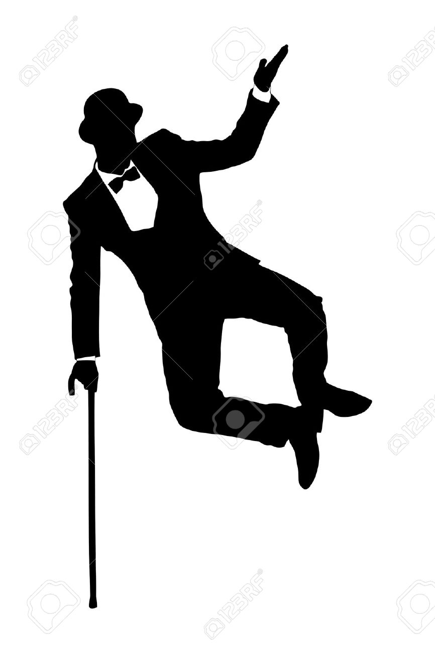 866x1300 With Cane In A Suit Silouete Clipart