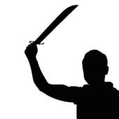 170x170 Clip Art Vector Clip Art Of Man With Knife Silhouette In Black