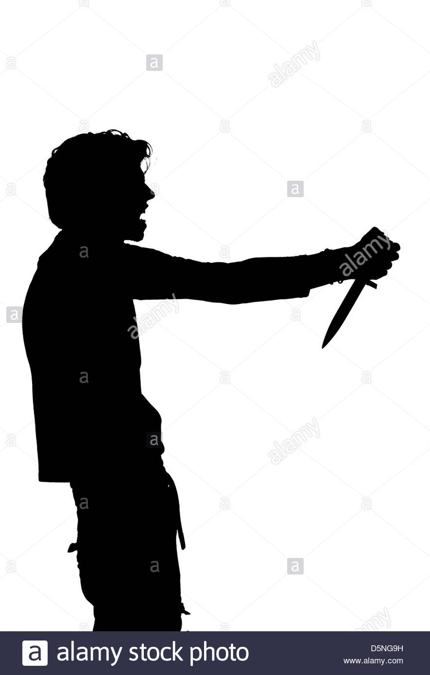 885x1390 Silhouette Of A Man Attempting Suicide Knife Stock Photo 55178189
