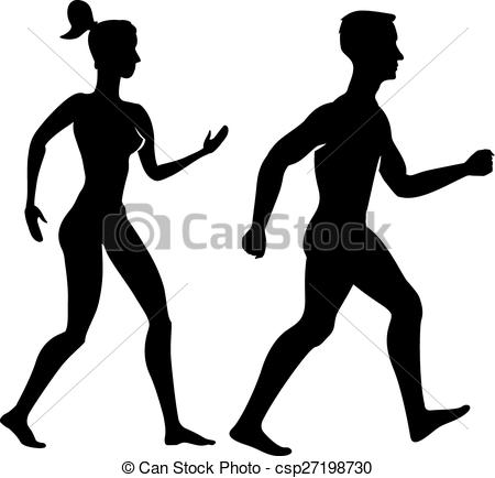 450x434 Collection Of Silhouettes Man And Woman. Vector Vectors