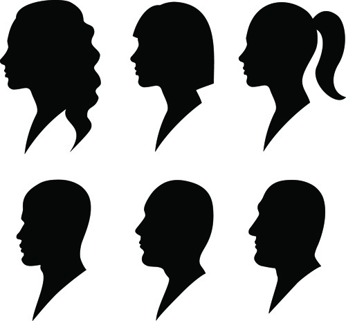 500x464 Creative Man And Woman Silhouettes Vector Set Free Vector
