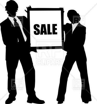 372x400 Man And Woman Silhouettes In Business Suits Royalty Free Vector