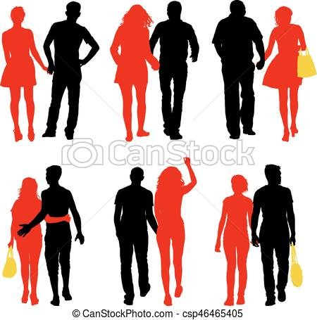 450x455 Set Couples Man And Woman Silhouettes On A White Background