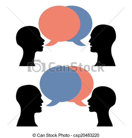 450x470 Silhouette Men Women Talking. A Conversation Between Two Vector