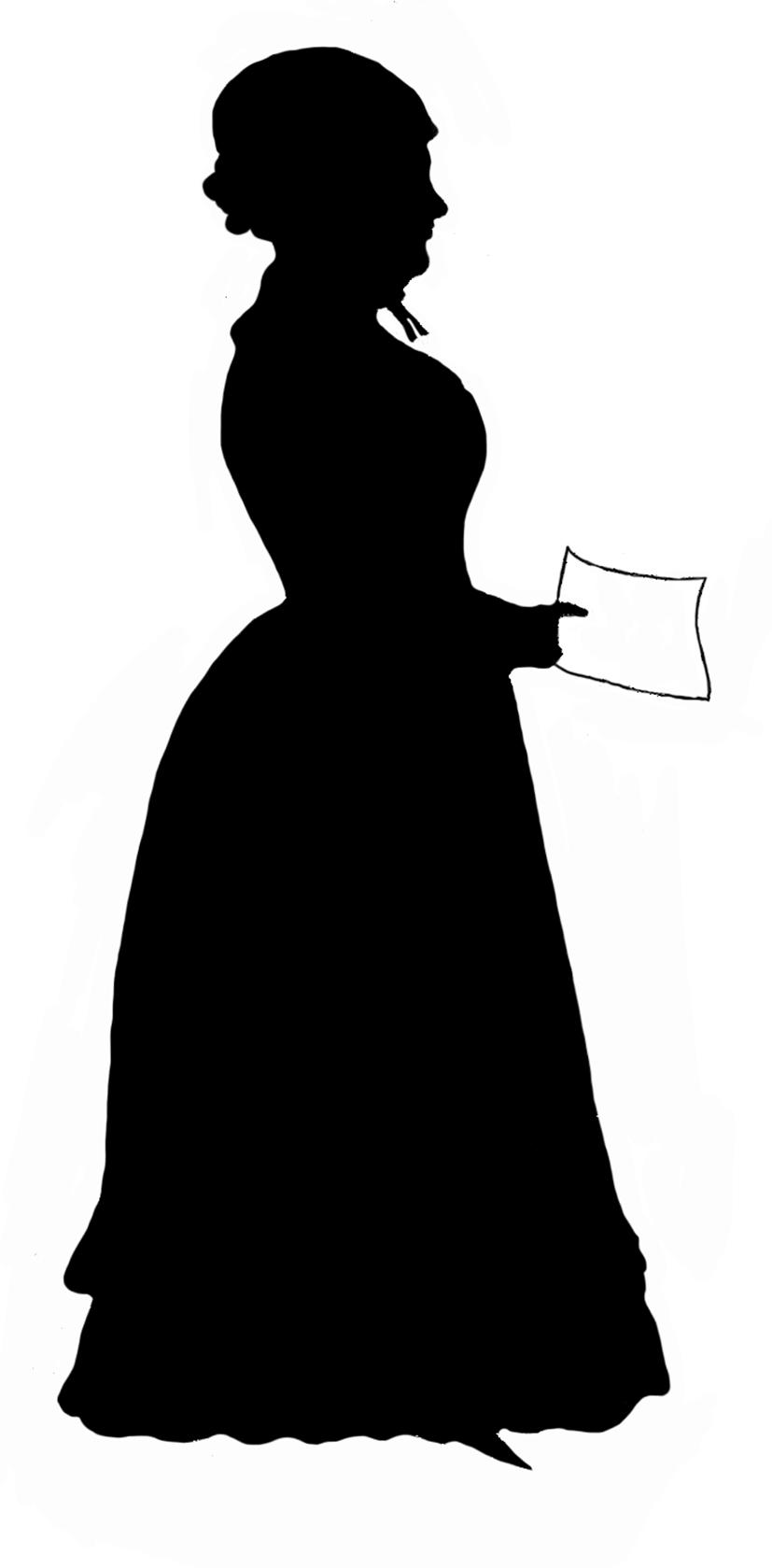 827x1679 Victorian Woman Silhouette Clip Art