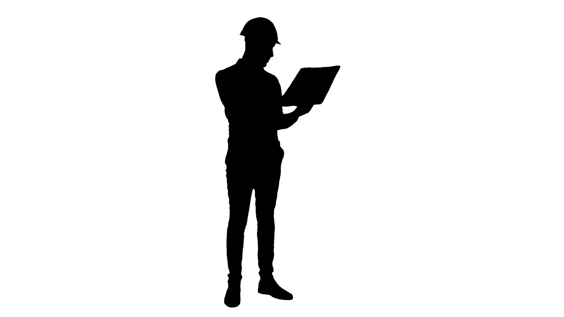 1920x1080 Silhouette Site Manager Talking On Mobile Phone Holding Blueprints