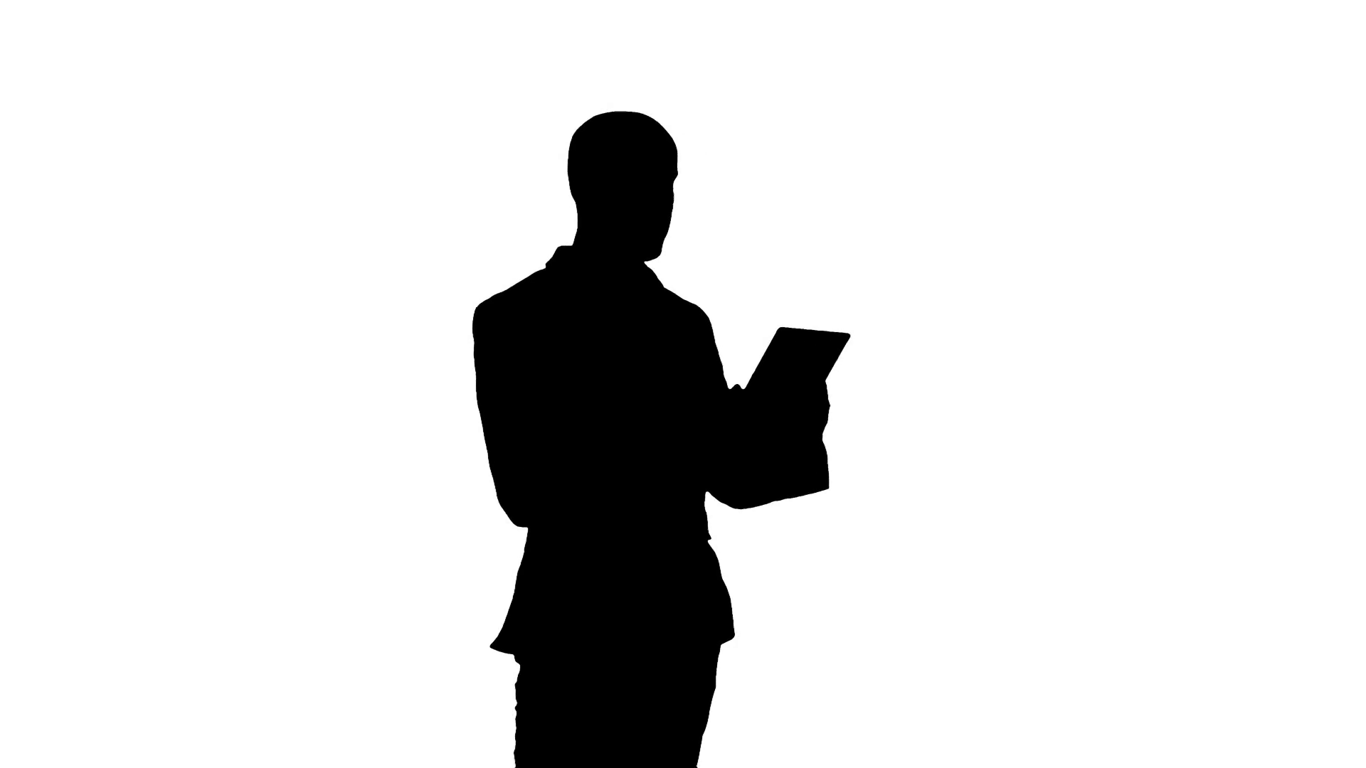 1920x1080 Silhouette Young Manager Having Video Conference On Tablet Stock