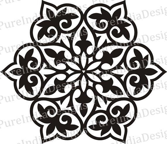 570x494 Turkish Mandala Ottoman Motif Stencil Cricut Silhouette