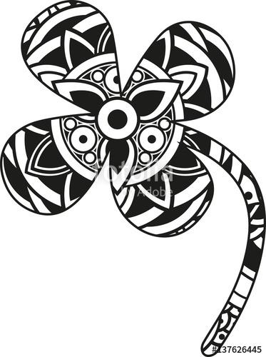 373x500 Vector Illustration Of A Mandala Four Leaf Clover Silhouette