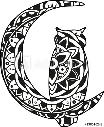 409x500 Vector Illustration Of A Mandala Moon And Owl Silhouette