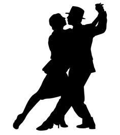 236x265 French Dancers Silhouette Art Print Romance D' Automne Giclee