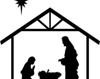 340x270 Nativity Black And White Clipart