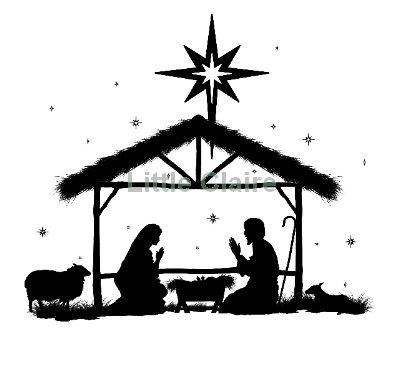 400x366 Away In A Manger Silhouette Clip Art Christmas Nativity