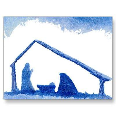 400x400 Blue Silhouette Nativity Scene Postcard Silhouettes, Scene
