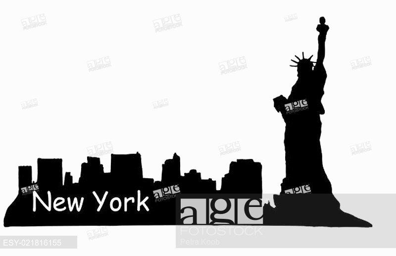800x517 Manhattan Skyline Silhouette Vector