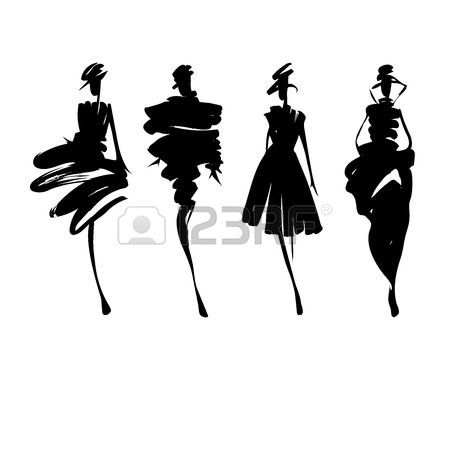 450x450 Fashion Models Hand Drawn Silhouettes Stock Vector