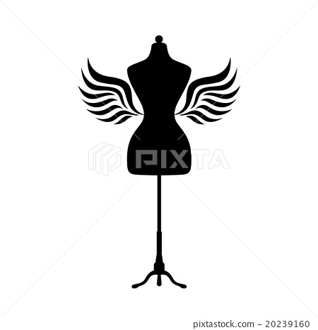 450x468 Mannequin Silhouette With Wings. Vector.