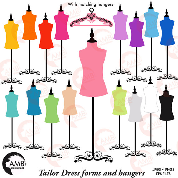 570x570 Dress Forms, Hangers, Mannequin Clipart, Silhouette Clipart, Multi