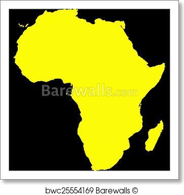 362x382 Art Print Of Africa Yellow Map On Black Barewalls Posters