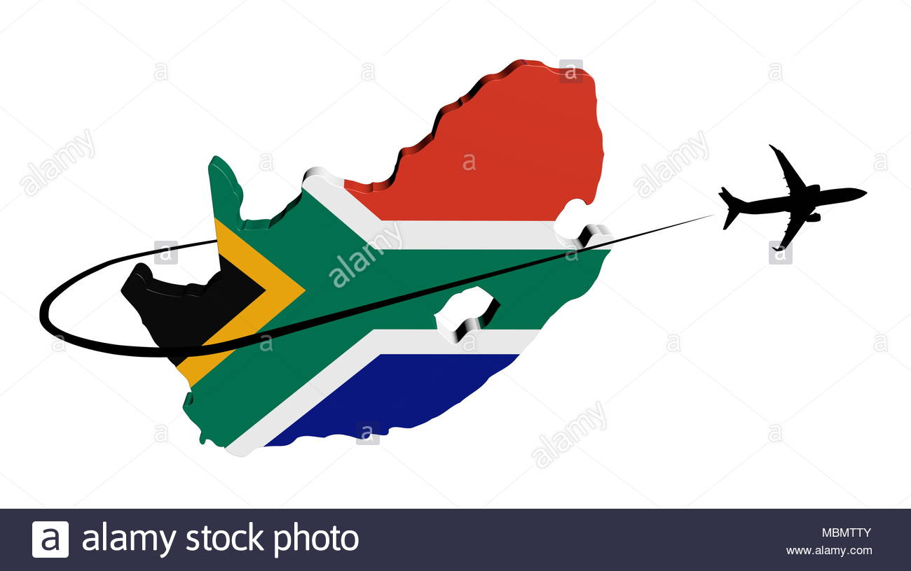 1300x816 South Africa Map Flag With Plane Silhouette And Swoosh