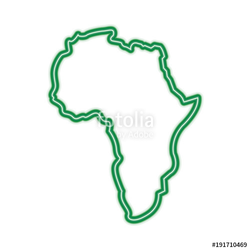 500x500 Map Of Africa Continent Silhouette On A White Background Vector