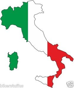 250x300 Italy Silhouette Bumper Decal Map Flag Tool Box Sticker Laptop