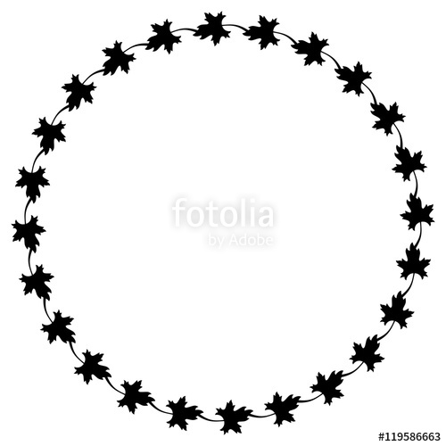 500x500 Black And White Decorative Round Frame With Maple Leaves