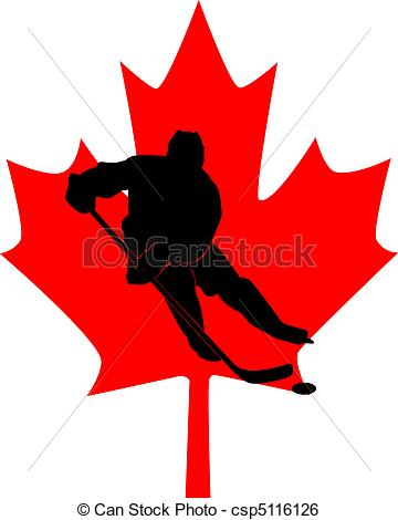360x470 Silhouette Of A Hockey Player In The Background Of A Red Stock