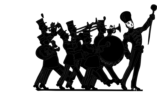 600x361 Marching Band Black On White Clip Art