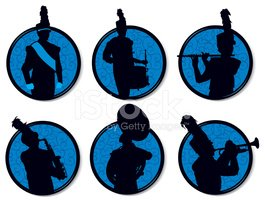 265x200 Marching Band Silhouettes Buttons Stock Vectors