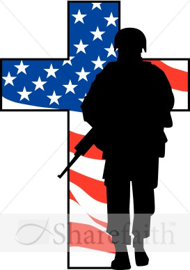 273x388 Soldiers Cross With American Flag Clipart