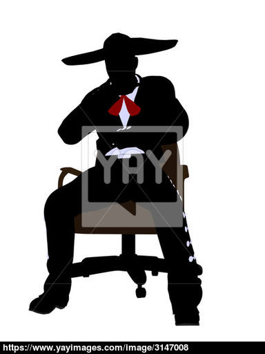 384x512 Male Mariachi Sitting In A Chair Silhouette Image