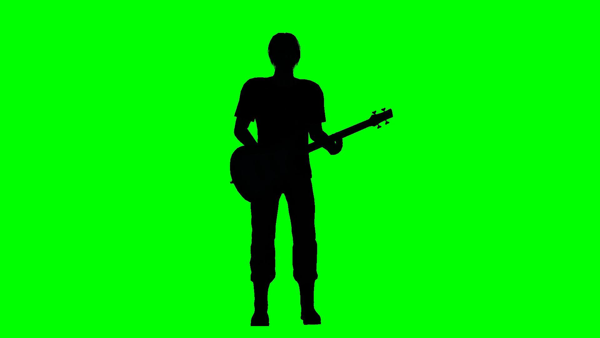 1920x1080 Rock Musician Playing Guitar Silhouette Green Screen Motion