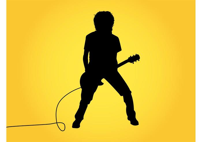 700x490 Guitar Player Silhouette Graphics
