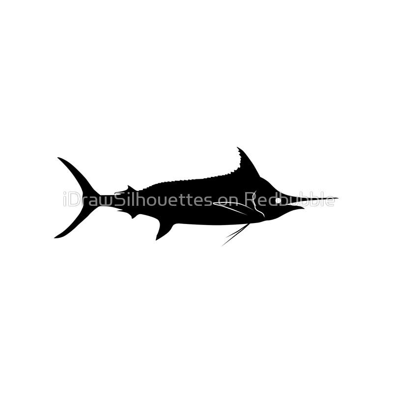 800x800 Blue Marlin Fish Silhouette (Black) Tote Bags By Idrawsilhouettes
