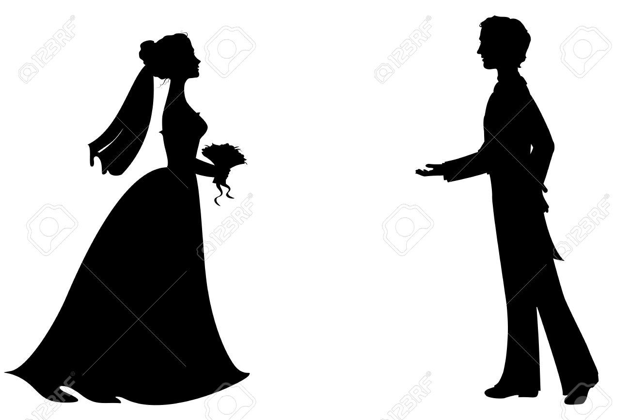 1300x866 Bride Groom Silhouette Wedding Clipart