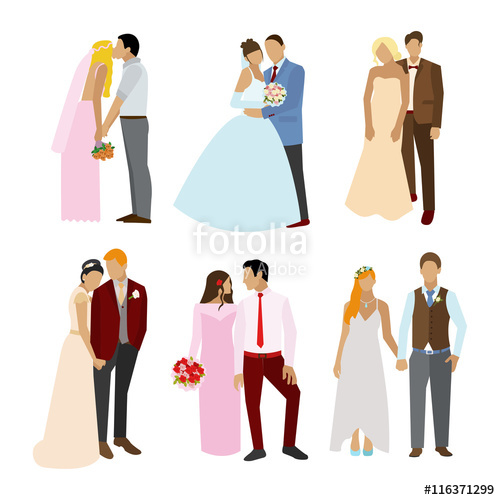 500x500 Just Married Couples In Different Poses And Dress. Vector