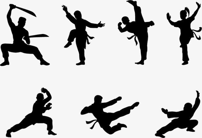 650x446 Martial Arts Silhouette Material, Wushu, Fight, Wrestle Png