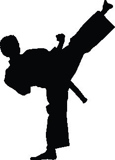 233x325 Wallhogs Martial Arts Kicking Ii Silhouette Cutout Wall Decal