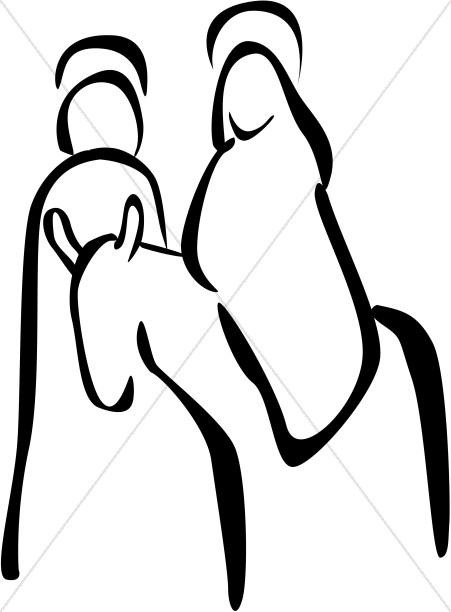 451x612 Minimalistic Riding A Donkey Clipart Nativity Clipart