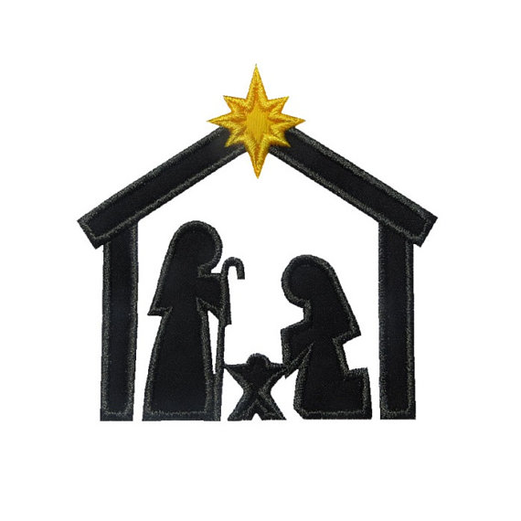 570x570 Nativity Silhouette Applique Machine Embroidery Digital Design