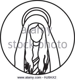 300x320 Circular Shape With Silhouette Virgin Mary And Saint Joseph