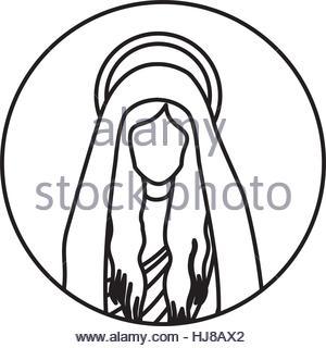 300x320 Circular Shape With Silhouette Virgin Mary And Saint Joseph