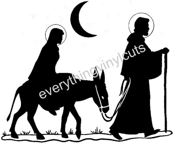 570x467 Items Similar To Vinyl Wall Art Silhouette Joseph And Mary Going