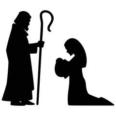 240x240 Mary, Joseph And Jesus Silhouette