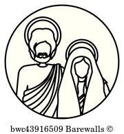180x195 Art Print Of Circular Sticker With Silhouette Figureof Saint