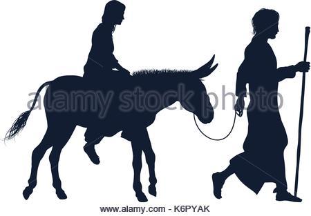 450x313 Virgin Mary Riding Donkey Silhouette Icon Stock Vector Art