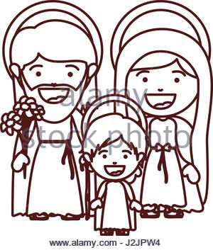 300x353 A Vector Illustration Of Joseph, Mary And Baby Jesus For Nativity
