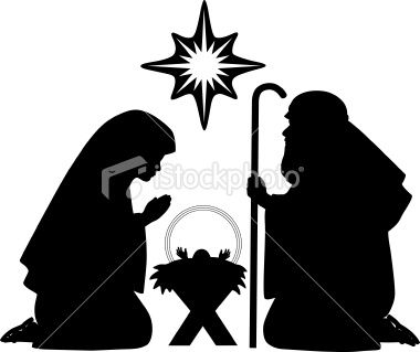 380x319 Nativity Silhouettes Including Baby Jesus, Mother Mary, Joseph